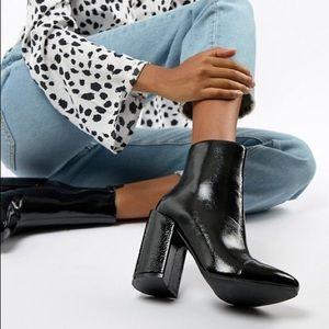 ASOS black patent heel ankle boot